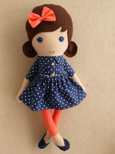 Reserved for Katie Small Fabric Doll Rag Doll 15 by rovingovine