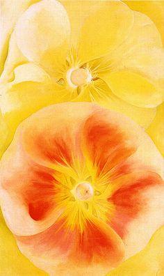 Georgia O'Keeffe ~ Pink and Yellow Hollyhocks, 1952
