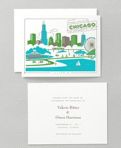 Visit Chicago Save the Date Card. Hello Lucky.