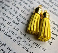 Happy Yellow Tassel suede charm with gold cap - Set of 2