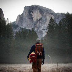 "coffeentrees: ""Our Klettersack and Fleece enjoying a crisp morning in Yosemite via by topodesigns "" Free Your Spirit Road Trip Usa, Wanderlust, Adventure Awaits, Adventure Travel, Trekking, Kayak, California Travel, Yosemite California, Plein Air"