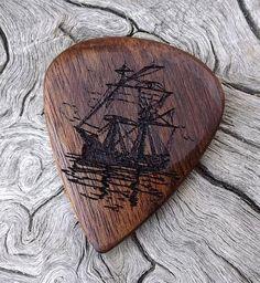Handmade Premium Wood Guitar Pick - Caribbean Rosewood - Actual Pick Shown - No Stock Photos - Nautical Theme