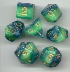 NEW-RPG-Dice-Set-of-7-Veined-Green-D4-D6-D8-D10-D12-D20-D00-90