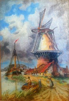 Картина маслом Мельница, 20х30см, картины для интерьера, Голландия, пейзаж, мельница, купить картину Oil painting. Artist Irina Abramova.