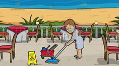 A Woman Mopping A Wet Floor At A Restaurant Patio Overlooking The Ocean :  A woman with ponytailed brown hair wearing a light gray dress shirt and gray shoes smirks while cleaning the floor using a blue and gray mop a red with gray wheeled mop bucket and yellow wet floor sign is placed in front of her. Set in a patio with a blue sea view beige sand green plants five round tables wrapped in white and red cloth brown chairs with red cushion.
