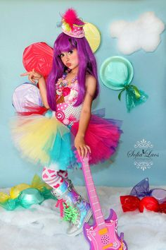 READY TO SHIP 3/4t  Katy Perry inspired Candy land tutu dress and costume. $89.00, via Etsy.