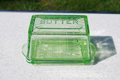 Antique Uranium Glass, Vaseline Glass, Covered Butter Dish