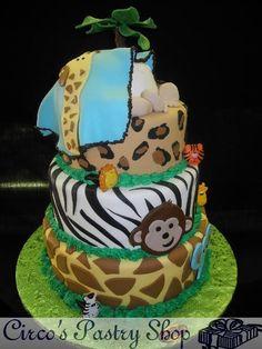 Jungle themed baby shower cake.