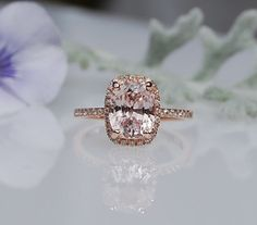 part A -2.4ct Cushion ice peach champagne sapphire in 14k rose gold diamond ring engagement ring