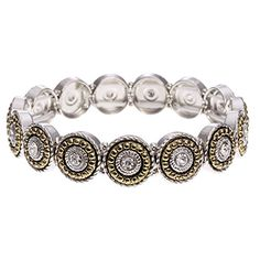 PammyJ Two Tone Round Rope Edge Crystal Stretch Bracelet >>> Check out the image by visiting the link.