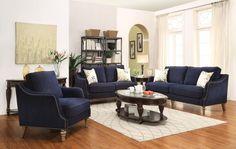 Coaster Vessot 2 Piece Upholstered Sofa Set in Blue
