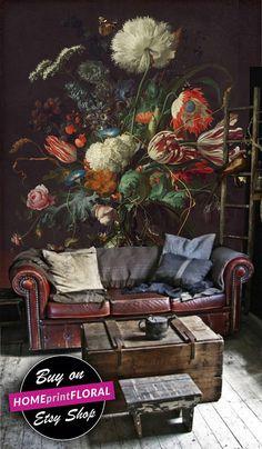 Dark Floral Wallpaper Flower Wallpaper Floral Wall Mural