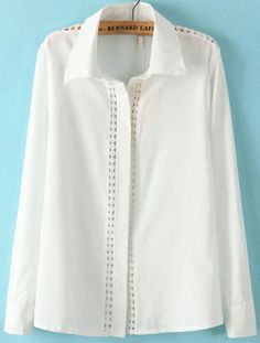 White Lapel Long Sleeve Hollow Embroidered Blouse US$22.46