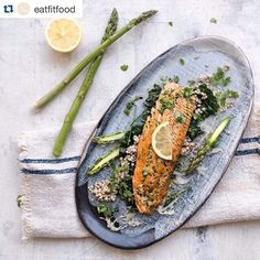 Beautiful summer food courtesy of @eatfitfood and @propcoop_syd thanks using our platter!! Hope you're all living well, we are slowly getting back into making.. Yeah for 2016!! Our Summer Soft Herb Rainbow Trout with Cavolo Nero and Steamed Buckwheat. Simple and yet all mighty powerful.