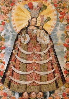 Virgen del Rosario. Escuela Cuzqueña. Anónimo.