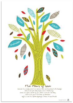 Five Pillars Tree - Islamic Art Print. An adorable print that illustrates the five pillars of Islam.Size x on High-quality Art paper with a matt finishMade from recycled paper 5 Pillars, Pillars Of Islam, Islamic Posters, Islamic Art, Islamic Studies, Islamic Quotes, Learning Arabic, Kids Learning, Day Camp Activities