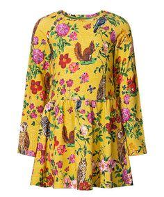 Look at this #zulilyfind! Mustard Floral Tomari Animal Dress - Girls #zulilyfinds