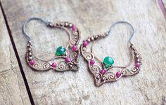 Wire wrapped gypsy copper earrings with chrysoprase by SabiKrabi, $63.00