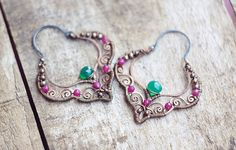 Wire wrapped gypsy copper earrings with chrysoprase by SabiKrabi, $63.00
