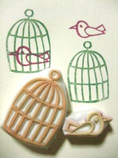 Bird & cage stamp