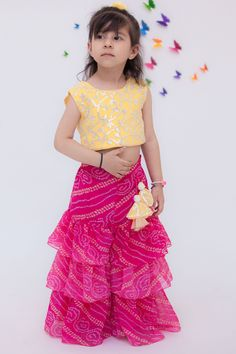 Mar 2020 - Buy Embroidered Top & Sharara Set by Fayon Kids at Aza Fashions Kids Party Wear Dresses, Girls Party Wear, Kids Dress Wear, Baby Girl Party Dresses, Kids Gown, Dresses Kids Girl, Kids Wear, Sarara Dress, Girls Frock Design