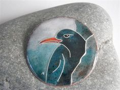 Chough bird cloisonne enamel brooch by Anne Gardener of Kittawake Enamels