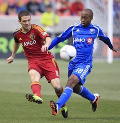 Will Johnson #8 of Real Salt Lake and Collen Warner #18 of Montreal Impact chase the ball down during the first half of an MLS soccer game April 4, 2012 at Rio Tinto Stadium in Sandy, Utah.