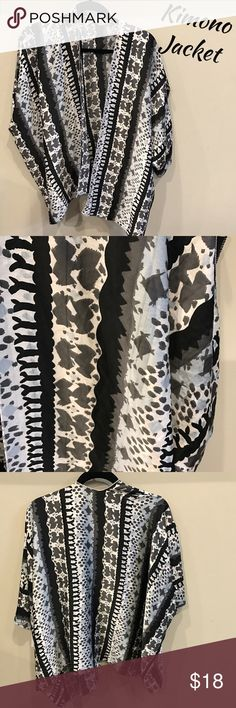 Kimono Jacket This patterned kimono jacket is black, tan, light blue and grey...fun for all occasions!  I hope you love ❤️ it as much I do! Jackets & Coats