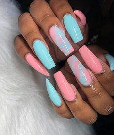 """If you're unfamiliar with nail trends and you hear the words """"coffin nails,"""" what comes to mind? It's not nails with coffins drawn on them. Although, that would be a cute look for Halloween. It's long nails with a square tip, and the look has. Acrylic Nails Natural, Best Acrylic Nails, Acrylic Art, Colored Acrylic Nails, Cute Acrylic Nail Designs, Colorful Nail Designs, Colourful Nails, Cotton Candy Nails, Fire Nails"""