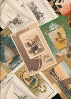 15 OLD VINTAGE NAUTICAL SHIP BOATS scenes Greetings POSTCARDS LOT -rr241