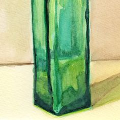 Green Glass Bottle original watercolor daily painting of emerald glass | amyelyseneer - Painting on ArtFire