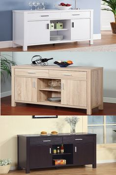 Smart Home Modern Buffet Fine Dining Serving Table Stand Furniture White Buffets Sideboards