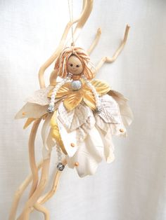 SALE Fairy Ornament Handmade Doll Flower Fairy by amezarcreations