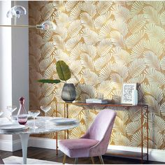 Mala is a bold, confident design which plays on contrasting elements of matte and shine, with a chalky ground against striking, stylised palm leaves. Harlequin Wallpaper, Print Wallpaper, Wallpaper Designs, Wallpaper Wallpapers, Decor Interior Design, Interior Decorating, Painted Rug, Painted Furniture