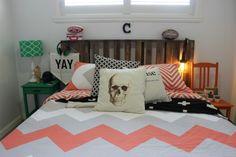 Boys bedroom mini makeover / orange black green chevron / pallet bedhead