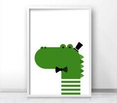 Crocodile Nursery Print Kids Art Print Instant von LimitationFree