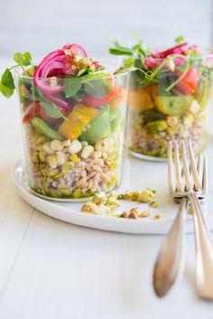 Roasted Corn, Farro, and Tomato Salad