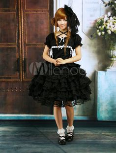 Cotton Black Short Sleeves Ruffles Lace Gothic Lolita Dress - Milanoo.com