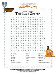 Enjoy our free Bible Word Search: The Last Supper. Fun for kids to print and learn more about the Bible. Feel free to share with others, too!