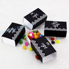 "#bride #black #candybox  ""Mr. & Mrs."" Wedding Favor Box  BETER-TH034"