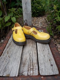 Dr Marten size 8 1/2 Mary Jane Yellow womens shoe by RubesRelics, $62.50