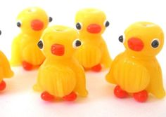 3 yellow duck beads lampwork glass orange от MindieleeSupplyz