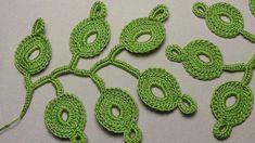 Как связать веточку листиков для ирландского кружева - урок вязания крюч...