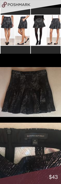 """Banana Republic Fit & Flare Skirt Jaquard Material Banana Republic - Black - Fit and Flare Skirt - Jacquard Material - Size 6 - Like new! Measurements while laying flat:  Waist - 15""""  Length - 17.5""""  Hip - 19""""  Materials - 49% cotton 39% polyester 10% rayon/viscose 2% spandex/elastane  Lots of stretch throughout the skirt, but little stretch on the waist band. Banana Republic Skirts Mini"""