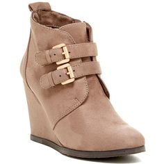 Restricted Wake Up Wedge Bootie ($40) ❤ liked on Polyvore featuring shoes, boots, ankle booties, ankle boots, taupe, wedge heel booties, taupe boots, taupe ankle booties y short boots