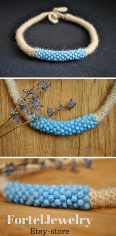 Jewelry unique wife Blue necklace Crochet tube necklace bead Boho crochet jewelry necklace beads Rustic thread necklace Gift for nature love USD 26.00