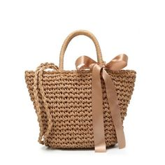 Ribbon Bowknot Straw Handbag Brown ($20) ❤ liked on Polyvore featuring bags, handbags, shoulder bag, beige handbags, brown purse, man bag and shoulder handbags