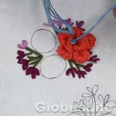 Hand Embroidery Patterns Flowers, Border Embroidery Designs, Hand Embroidery Videos, Embroidery Stitches Tutorial, Embroidery Flowers Pattern, Embroidery Works, Creative Embroidery, Simple Embroidery, Embroidery Kits