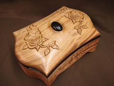 """Two months ago my sister died at the young age of while I was designing this box, so I named it after her, """"Little Sister"""" It is made out of solid Ribbon Stripped Mahogany. Unique Woodworking, Woodworking Box, Woodworking Projects, Dremel, Box Maker, Wood Sample, Cnc Wood, Wooden Jewelry Boxes, Jewel Box"""