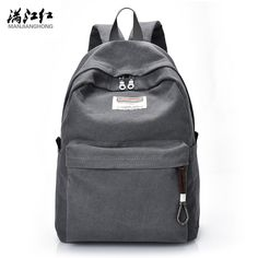 Manjianghong High Quality Fashion Canvas Casual Women Men Backpacks Male  Backpack for Students Backpack for 14 e4d26933aba77